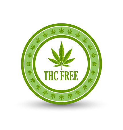 Marijuana hemp (Cannabis sativa or Cannabis indica) leaf icon or badge with title THC FREE on white background