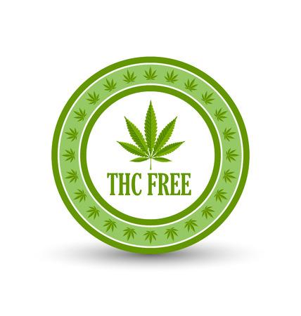 Marijuana chanvre (Cannabis sativa ou Cannabis indica) icône ou un badge feuille avec le titre THC GRATUIT sur fond blanc