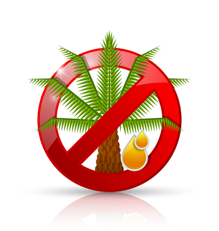 restrictive: No palm oil prohibition sign badge or icon isolated on white background