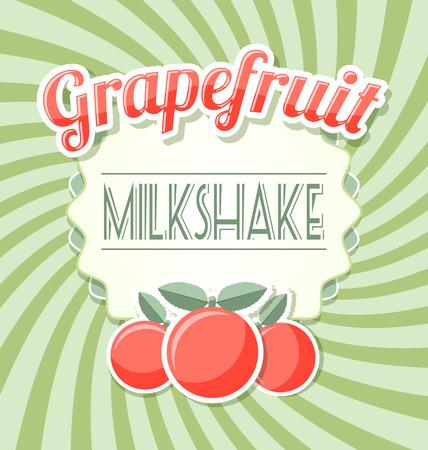 zest: Grapefruit milkshake label in retro style on twisted background