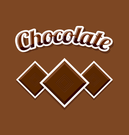 Retro chocolate with title on brown background Illustration