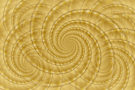 Golden twisted and ribbed spiral objects on background