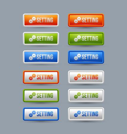 upkeep: Glossy setting buttons isolated on grey background Illustration