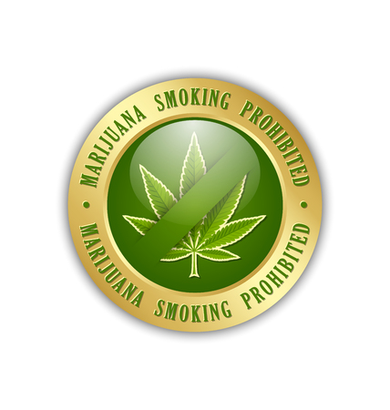 thc: Marijuana smoking prohibited icon on white background