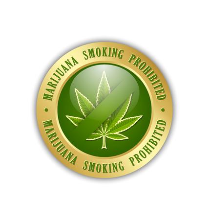 tetrahydrocannabinol: Marijuana smoking prohibited icon on white background