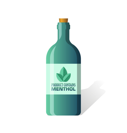 spearmint: Product contains menthol bottle isolated on white background Illustration