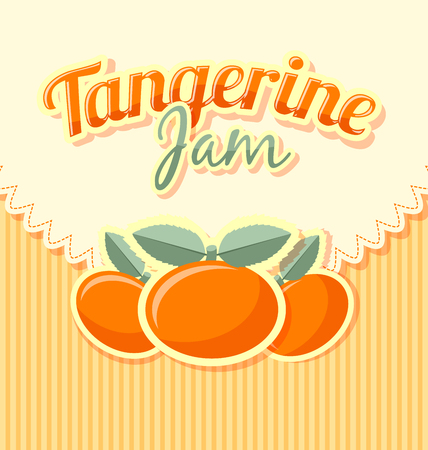 rinds: Tangerine jam label in retro style on striped background