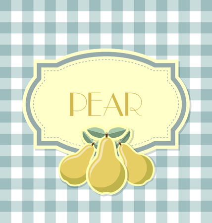 Pear label in retro style on squared background