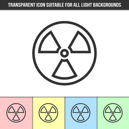 gamma radiation: Simple outline transparent nuclear icon on different types of light backgrounds