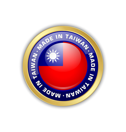 taiwanese: Made in Taiwan badge with Taiwanese flag in circular frame isolated on white background