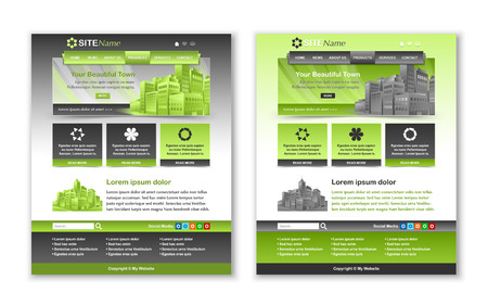 customizable: Easy customizable green and dark grey website template layouts Illustration