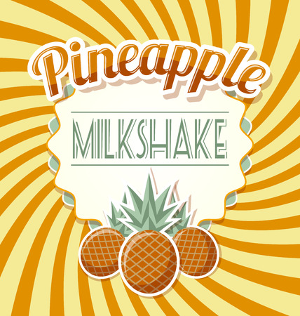 Pineapple milkshake label in retro style on twisted background