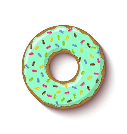 Ring shaped donut covered with mint flavoured green icing and placed on white background