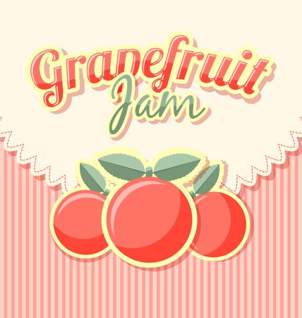 zest: Grapefruit jam label in retro style on striped background
