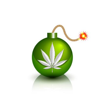 Green burning bomb icon with marijuana hemp (Cannabis sativa or Cannabis indica) leaf on white background Illustration