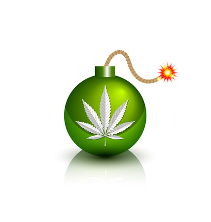 Green burning bomb icon with marijuana hemp (Cannabis sativa or Cannabis indica) leaf on white background Illustration