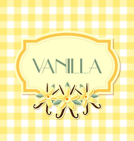 Vanilla label in retro style on squared background Illustration