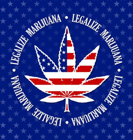 American legalize marijuana hemp (Cannabis sativa or Cannabis indica) leaf on black background