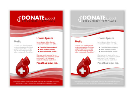 transfuse: Donate blood document templates with three dimensional glossy blood drop icon Illustration