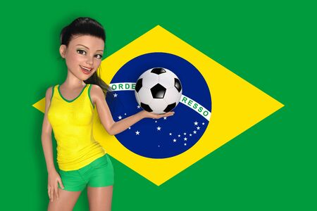 pretty young girl: Pretty young girl in sporty dress is holding soccer ball in front of Brazil flag on the background. 3D rendering illustration.