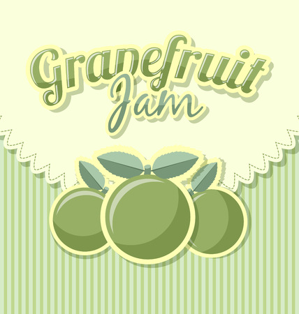 Grapefruit jam label in retro style on striped background