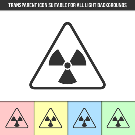 beware: Simple outline transparent nuclear icon on different types of light backgrounds