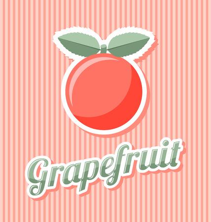 縞模様の背景のタイトルとレトロなグレープ フルーツ