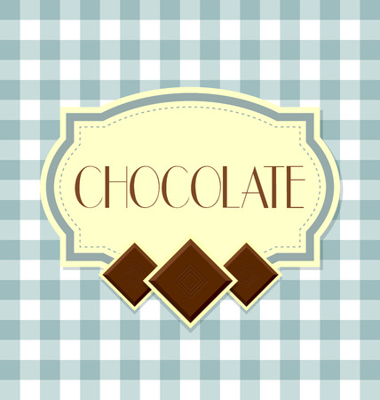 Chocolate label in retro style on squared background Illustration