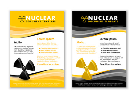 uranium: Nuclear yellow and black document templates with radiation sign