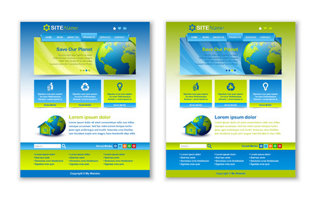 html: Easy customizable blue and green website template layouts