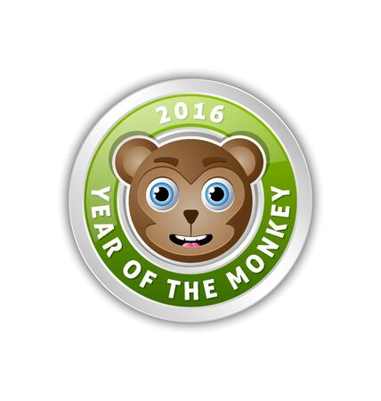2016 Year of the monkey chinese New Year animal badge with lettering