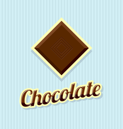 Retro chocolate with title on striped background