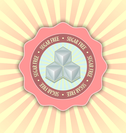 Sugar free badge in retro style with rays on the background