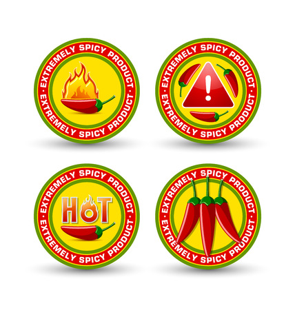 Extremely spicy product badges with red chilli peppers, flames and lettering HOT placed on white background Stock Vector - 84281882