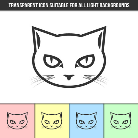 Simple outline transparent cat head icon on different types of light