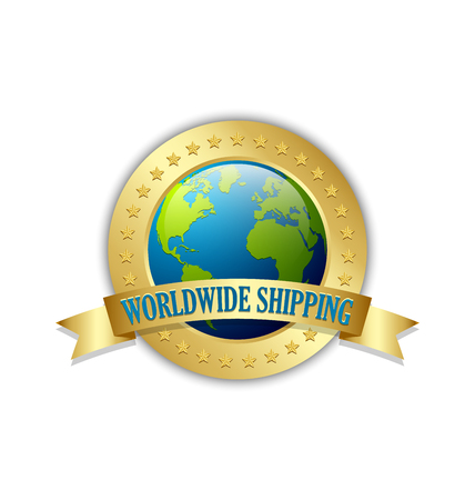 Golden worldwide shipping badge isolated on white background