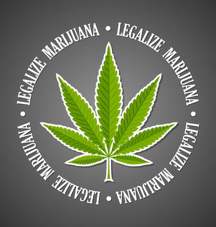 Legalize marijuana hemp (Cannabis sativa or Cannabis indica) leaf on black background Illustration