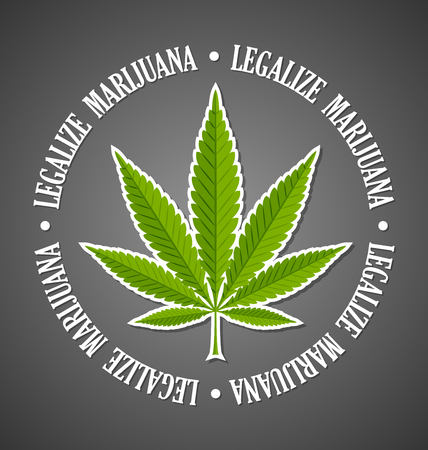 Legalize marijuana hemp (Cannabis sativa or Cannabis indica) leaf on black background Illustration