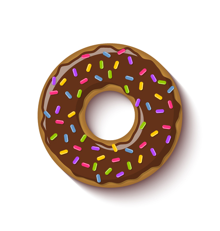 Ring shaped donut covered with chocolate flavoured brown icing and placed on white background Illustration