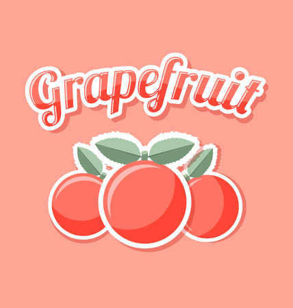 Retro grapefruit with title on pale pink background