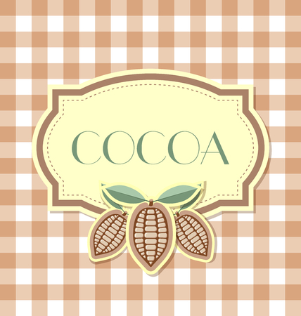 Cocoa label in retro style on squared background