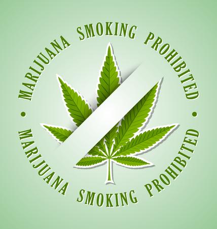 Marijuana hemp (Cannabis sativa or Cannabis indica) smoking prohibited leaf icon on pale green background Illustration