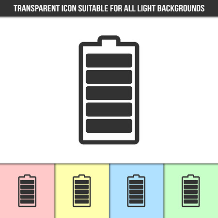 Simple outline transparent battery icon on different types of light backgrounds