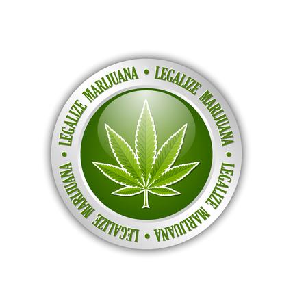 Silver legalize marijuana hemp (Cannabis sativa or Cannabis indica) leaf icon or badge on white background