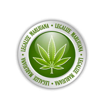 Silver legalize marijuana hemp (Cannabis sativa or Cannabis indica) leaf icon or badge on white background