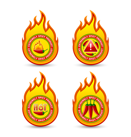 Extremely spicy product fire shaped badges with red chilli pepper and lettering HOT placed on white background