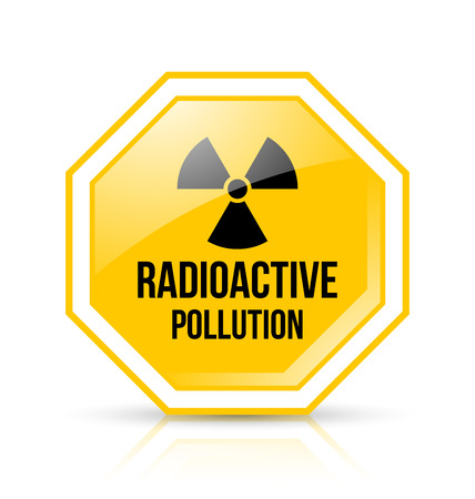 Yellow and black radioactive pollution sign with nuclear symbol on white background