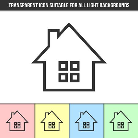 Simple outline transparent house icon on different types of light backgrounds