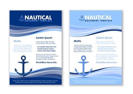 Nautical document templates with ship anchor icon on white background Imagens - 90041672