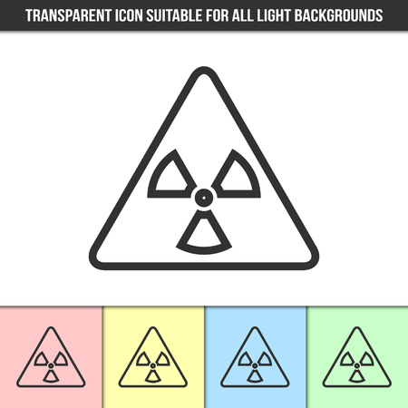 Simple outline transparent nuclear icon on different types of light backgrounds
